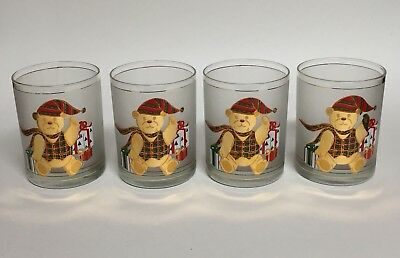Set of 4 Frosted Culver Christmas Teddy Bear Low Ball Tumbler Glass