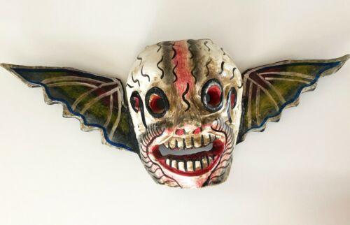 MEXICAN GUERRERO FOLK ART BAT SKULL WOOD MASK DAY OF THE DEAD DIA DE LOS MUERTOS