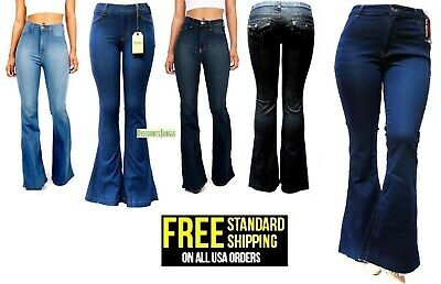 VIBRANT Womens Juniors Plus size High Waist Flared 70s Bell Bottom Jeans Denim