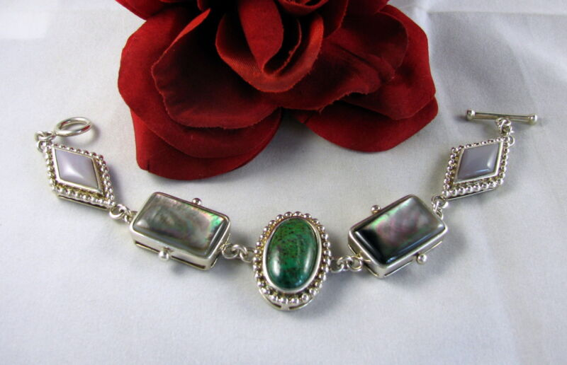Sterling Silver WK Gemstone & Turquoise Toggle  Bracelet  FERAL  CAT RESCUE