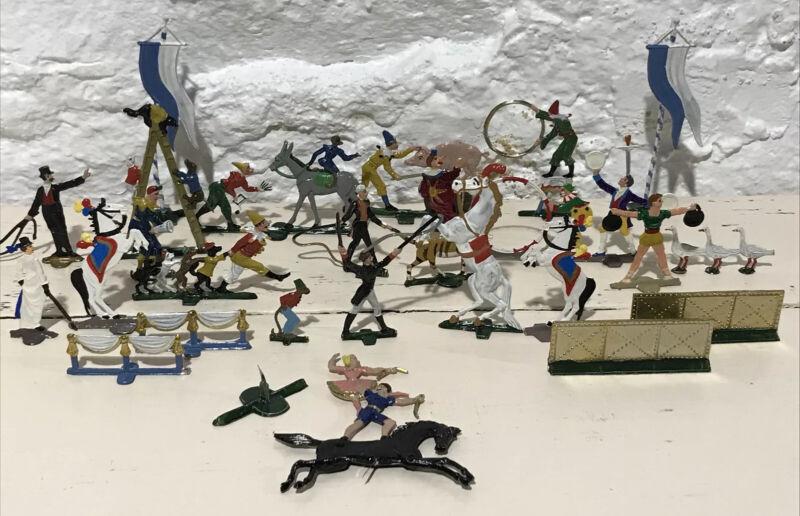 HEINRICHSEN German Flat Metal Hand Painted Circus Figures (26pcs.) w/ Box RARE!