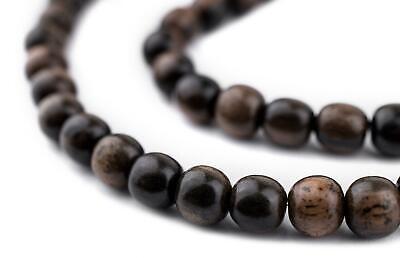 Dark Round Natural Ebony Beads 6mm Black Wood 16 Inch Strand