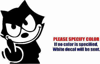 "Vinyl Decal Sticker - Felix The Cat The Middle Finger Car Truck Bumper Fun 7"""