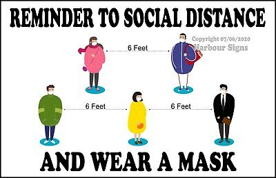 Social Distance Wear A Mask Decal Choose Your Size Truck Concession Sticker