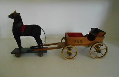 Antique Primitive Painted Toy Wood Milk Wagon Mohair Horse Pull Toy 19th c AAFA