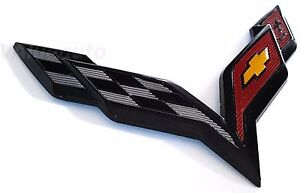 CORVETTE BLACK CARBON FLASH EMBLEM STINGRAY CROSS FLAGS 6.75inch C7 FRONT BUMPER