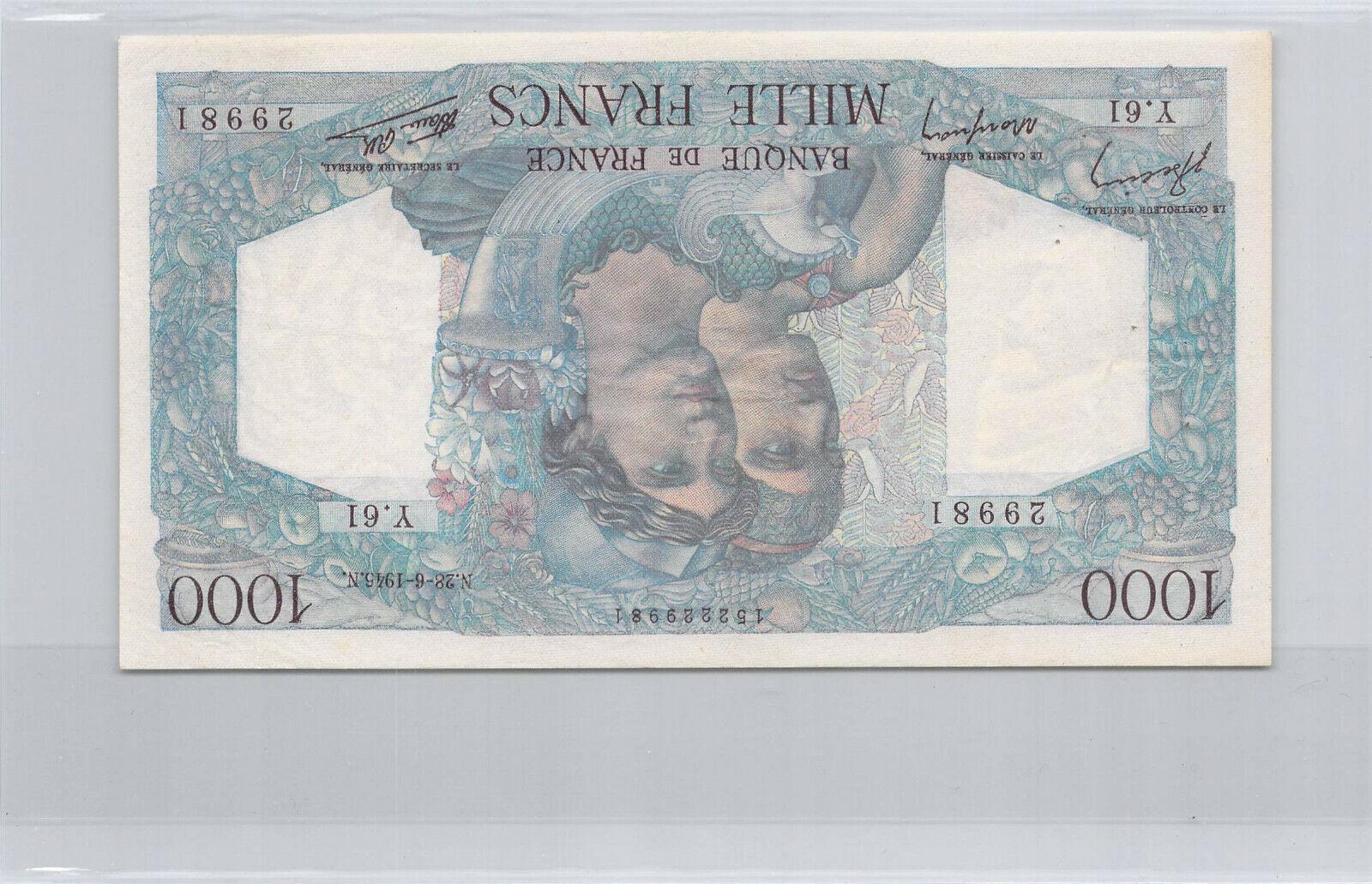 RECTO 1000 francs Type 1945 Minerve et Hercule - None