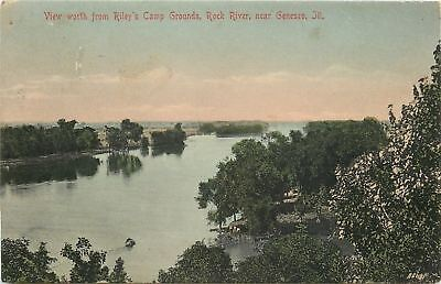 Genesco Illinois Handcolored Rileys Campgrounds Rock River Sunset 1910