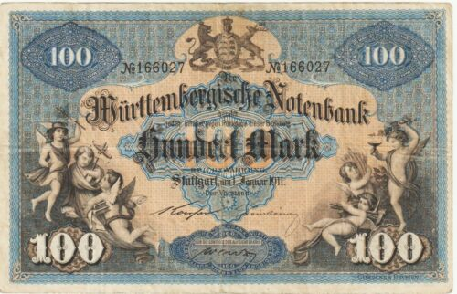Germany-Wurttemberg 100 Mark Banknote 1.11.1911 Very Fine Condition P#S-979-B