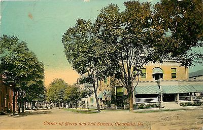 C1910 Postcard  Corner Of Cherry   2Nd   Second Streets  Clearfield Pa Posted