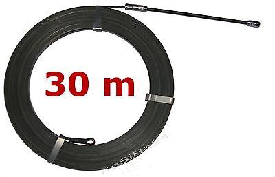 30m(=0,32€/m) Stahl Einziehband mit Suchfeder Kabeleinziehhilfe Einziehhilfe Öse