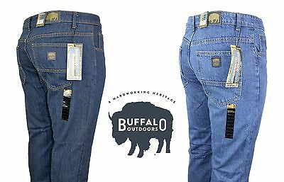 Buffalo Outdoors™ Mens Straight Leg Comfort Jeans Basic Work Denim Pants
