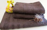 Doccia E Asciugamani Set 3pezzi Marrone Cioccolata Spugna; 1x 70x140cm,2x 50x100 -  - ebay.it