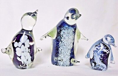 GLASS FAIRY PENGUIN ~Three FIGURINES ~ Australian STUDIO ART ~ EAMONN VEREKER