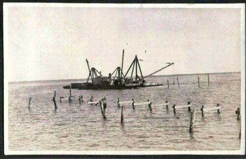 VINTAGE PHOTOGRAPH 1915-20S CRANE/BARGE DOCKS/JETTY HARBOR GALVESTON TEXAS PHOTO