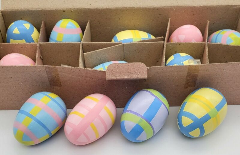12 Hand Painted Plaid Wood EASTER EGGS, Striped Lillian Vernon Easter Decor 3999