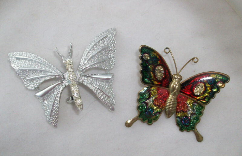 2 Butterfly Pins Brooches 1 Rhinestones Gerry's 1 Multicolor Enamel Unsigned