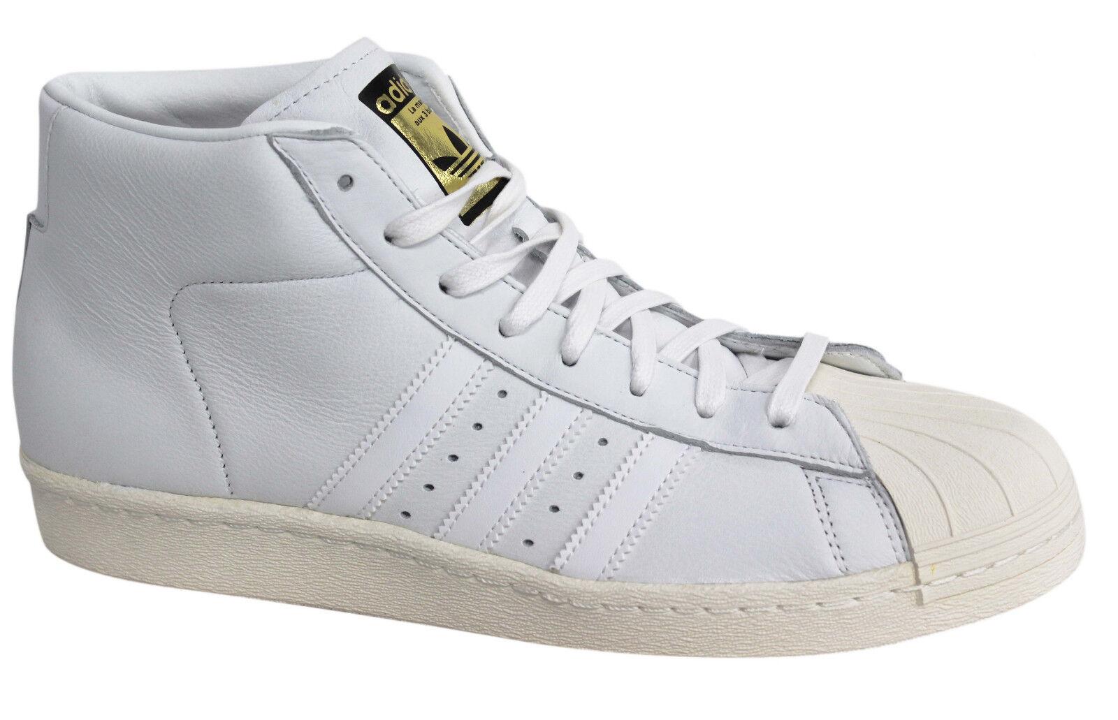 Détails sur Adidas Originals Pro Model Vintage DLX Lacets en Cuir Blanc Baskets S75031 M8 afficher le titre d'origine