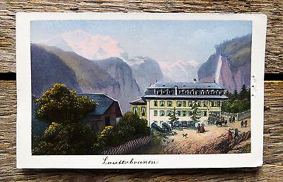c1870 Schweiz Berner Oberland Lauterbrunnen Aquatinta-Ansicht Dikenmann