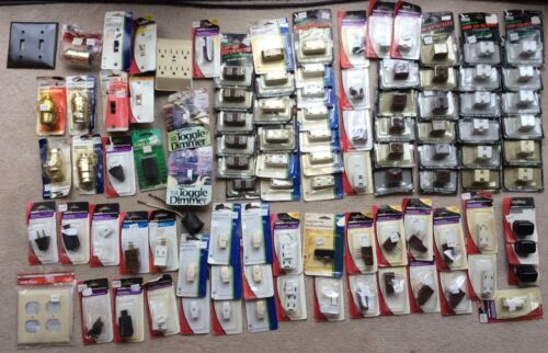 100 New Assorted Electrical Hardware - Switches, Plugs, etc.