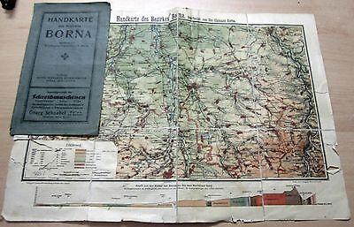 Handkarte vom Bezirk Borna (Deutsches Reich-Land Sachsen) von ca. 1920-40 in A3