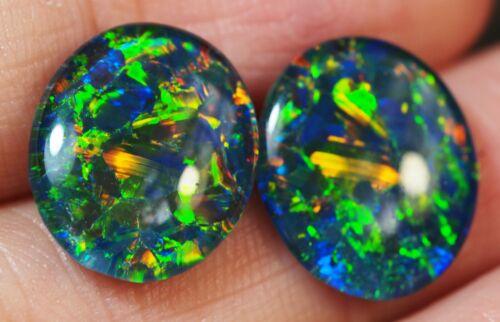 Pair Super Gem A+++ Natural Australian Coober Pedy Opal Triplet 14x12mm Earings
