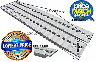 "9'_ 108"" X 15"" 6,500 LB ALUMINUM_RAMPS_CAR~TRUCK_TRAILER HOOK Knife AUTO hauler"