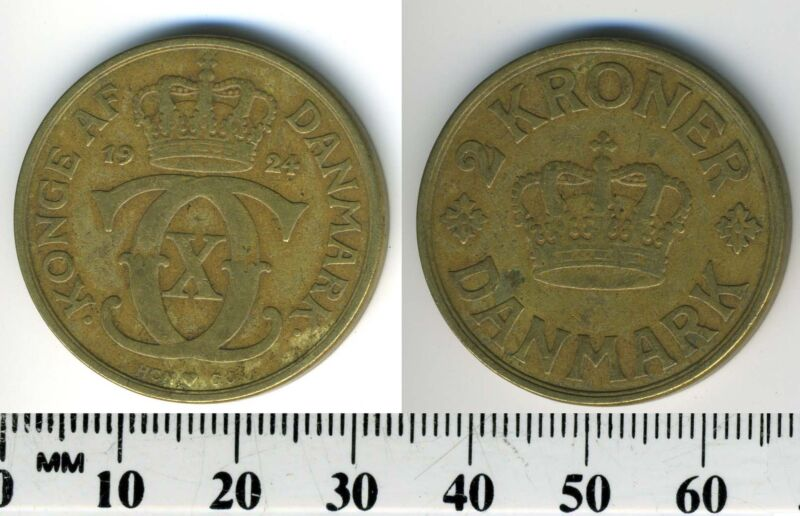 Denmark 1924 - 2 Kroner Aluminum-Bronze Coin - King Christian X - Key Date