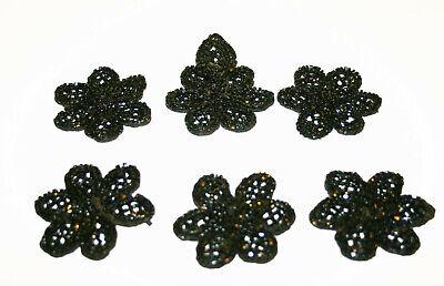 "1 Vtg Black Cut Steel Metal Flower Appliqué~Embellishment~Trim Sew to Dress 4/"" W"