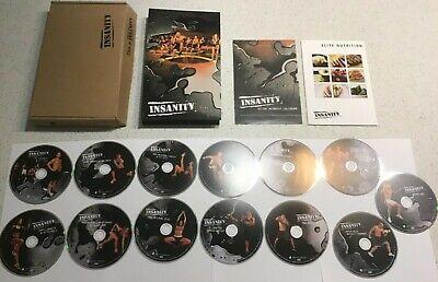 INSANITY WORKOUT BEACHBODY 10 DVD SET FITNESS ELITE FIT CARDIO + 3 BONUS DISCS