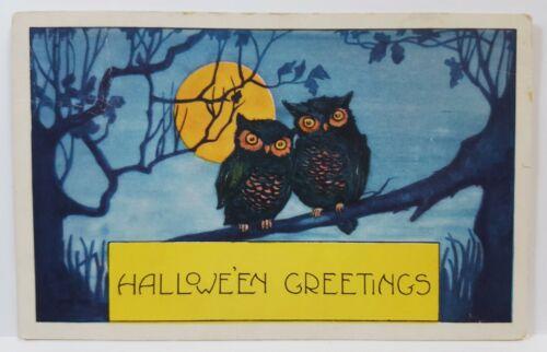 1922 Halloween Greetings Owls on Branch Full Moon Whitney Postcard