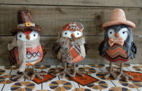* WOW! SET OF 3 BE THANKFUL HARVEST FABRIC BIRDS * NEW WITH TAGS * AUTUMN DECOR