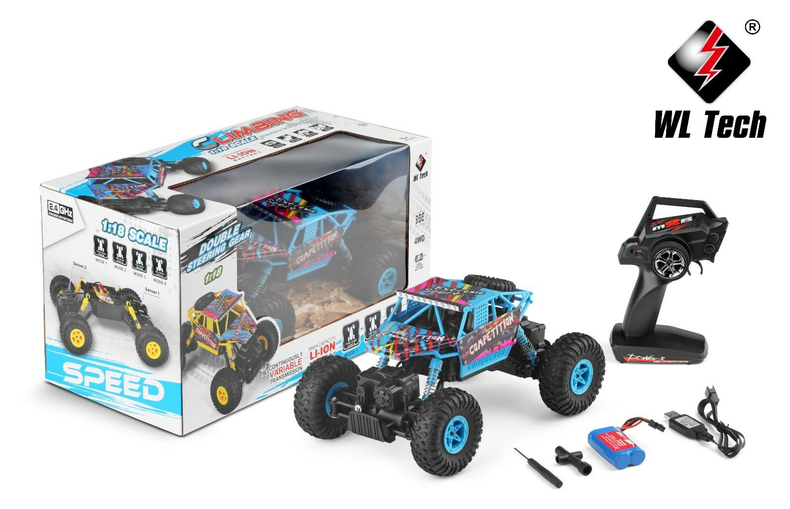 Park10 TOYS WLtoys 18428-C 1:18 RTR RC Rock Crawler 2.4Ghz Radio Remote-Blue