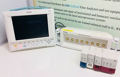 Phillips M1204a V24e Color Patient Monitor With Accessories