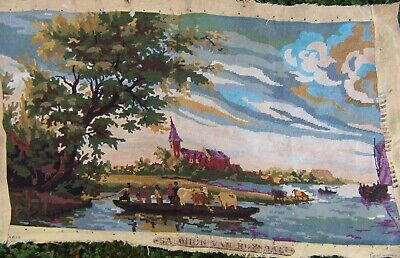 Vintage French Tapestry Vintage River, Church, Cows Scene 34 x 19