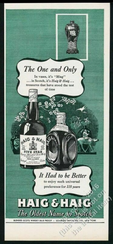 1946 Ming vase art Haig & Haig Scotch whisky vintage print ad