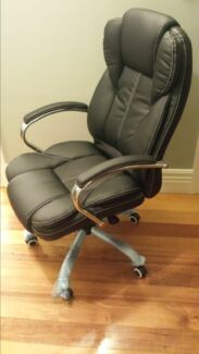 NEW Executive Office Chair PU Leather Chrome Upgraded Mechanism Bentleigh Glen Eira Area Preview