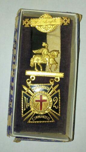 "Pre-1904 Knights Templar Sacramento Commandery Named ""P.A. Doyle"" Medal and Box"