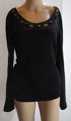 Charlotte Rae Tarantola Long Sleeve Black Top with Embellishments Size M