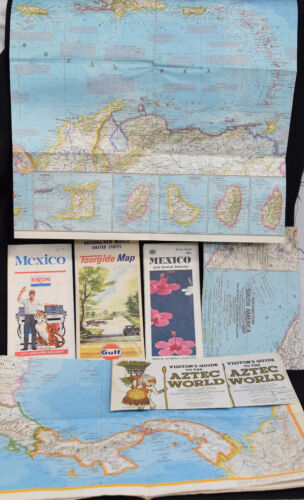 Vintage Lot Mexico Road Maps Guides South America West Indies Aztec Gulf Exxon