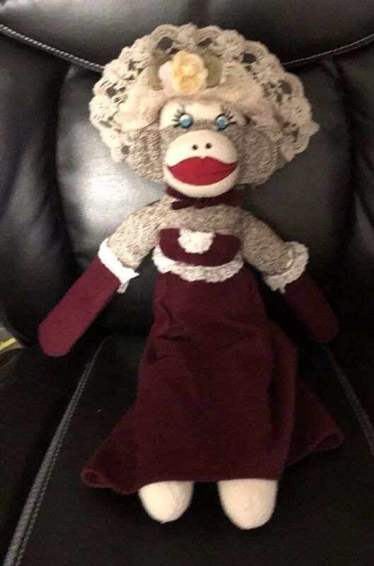 Vintage lovely Sock Monkey with a bust in gown and hat Hand made Blue Eyes