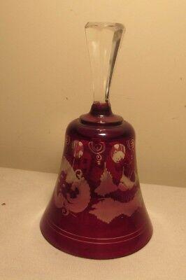 Ruby Bell - Vintage Ruby Red Glass Bell Bohemian / Czech Glass Egermann