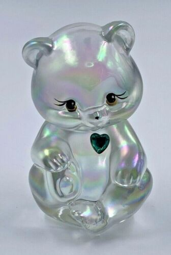 Fenton Opalescent Iridescent Glass May Birthday Bear Green Heart Signed C Riggs