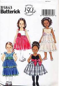 BUTTERICK SEWING PATTERN 5843 GIRLS 3-6 SPECIAL OCCASION/PARTY/FLOWER GIRL DRESS