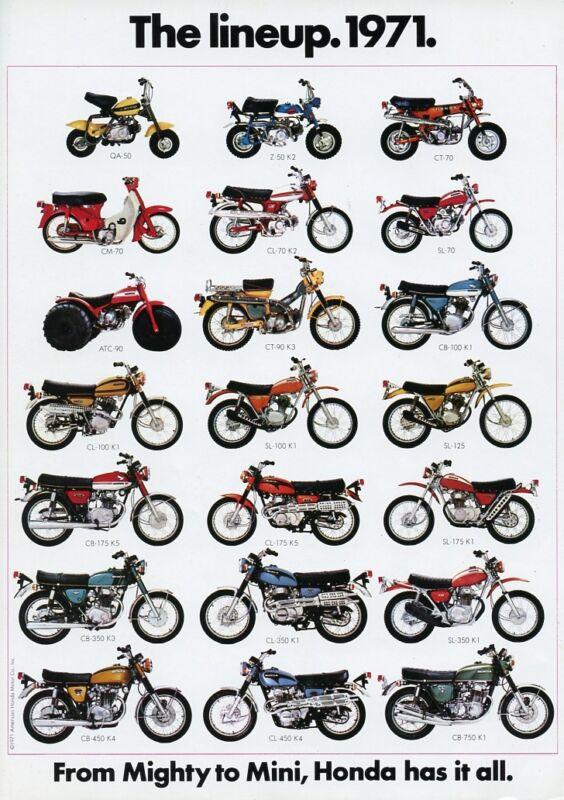 1971 HONDA LINE UP FULL LINE VINTAGE MOTORCYCLE AD POSTER PRINT 36x25 9MIL PAPER