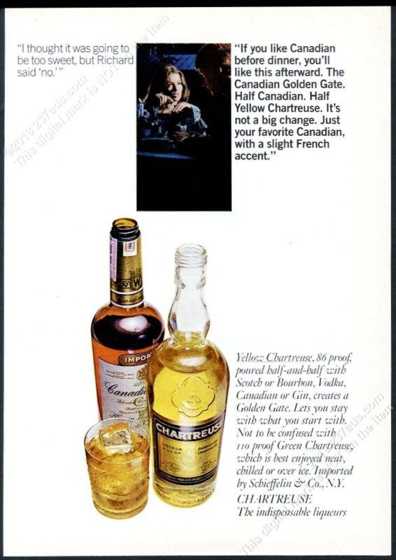 1970 Chartreuse yellow liqueur bottle photo vintage print ad