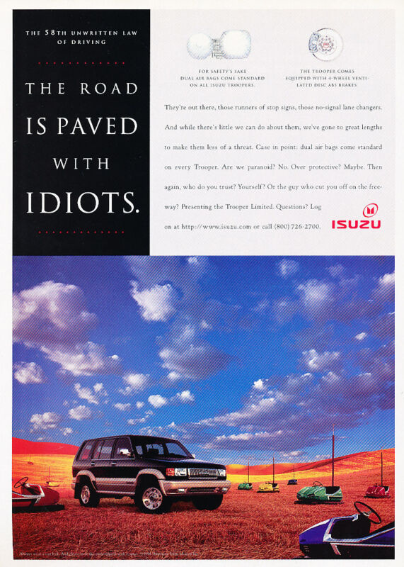 1996 Isuzu Trooper - Bumper - Classic Vintage Advertisement Ad D156