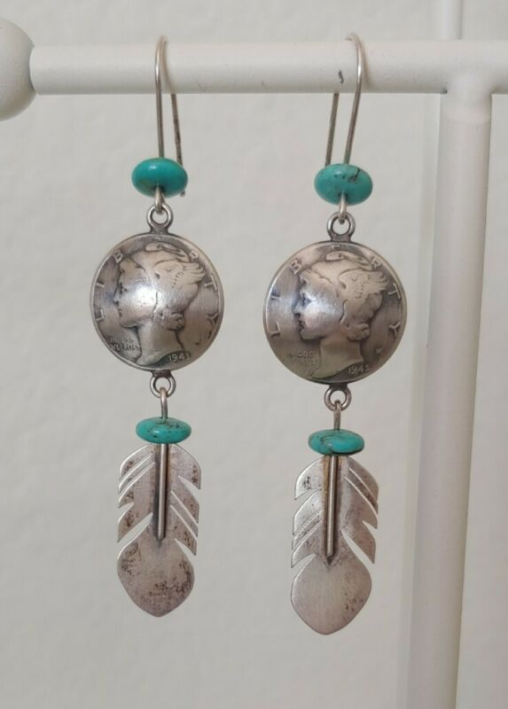 Vintage marked Navajo sterling earrings feather turquoise mercury dimes