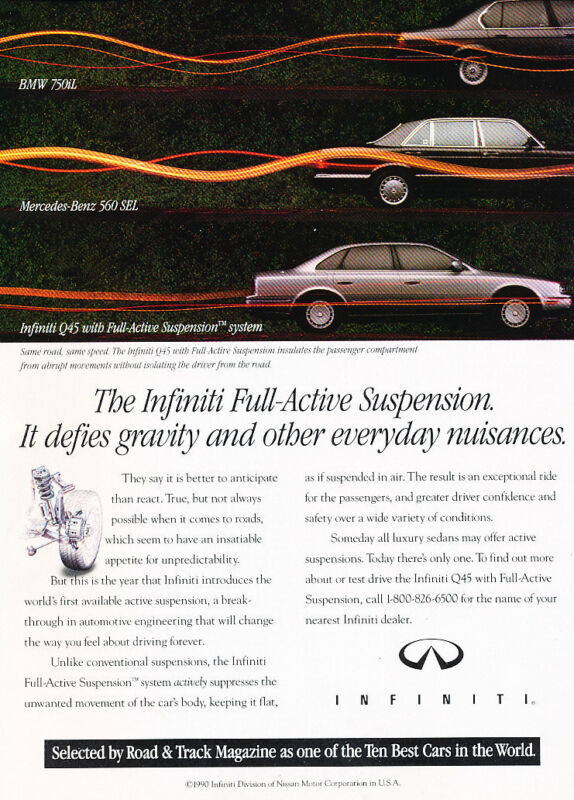 1990 Infiniti Q45 - System - Classic Vintage Advertisement Ad D189