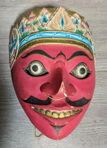 """Vintage 8"""" Balinese Klana Carved Wood Face Mask Indonesian Art Sculpture Carving"""